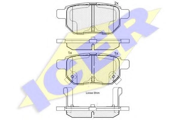 Комплект тормозных колодок, дисковый тормоз ICER 181899