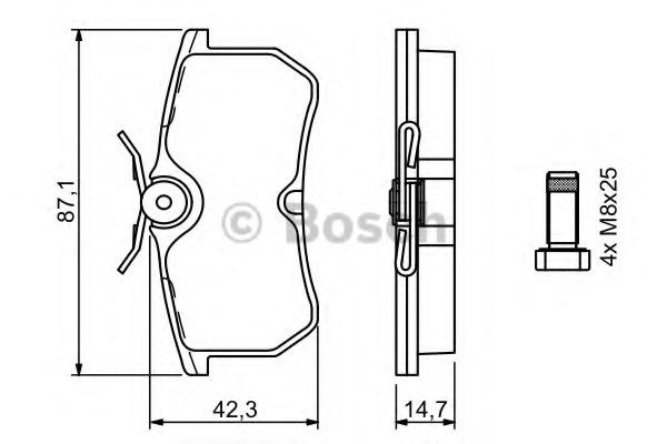 0986494011 BOSCH Комплект тормозных колодок, дисковый тормоз
