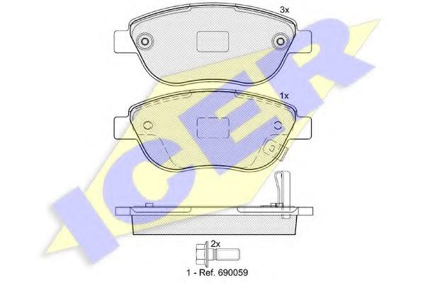 Комплект тормозных колодок, дисковый тормоз ICER 181809