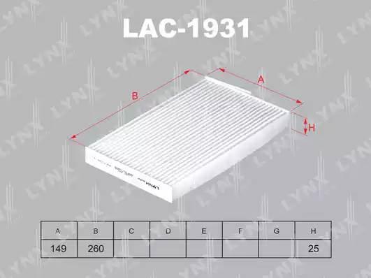 LAC1931 LYNX Фильтр салонный