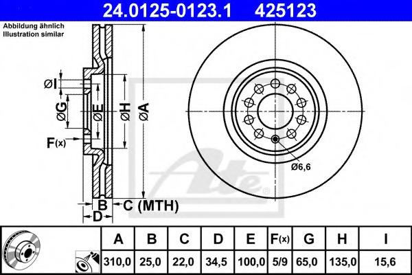 Диск тормозной вентилируемый ATE 24012501231