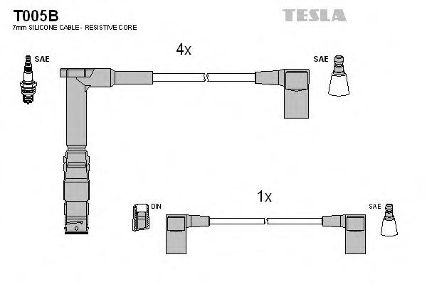 Комплект проводов зажигания TESLA T005B
