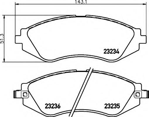 8DB355017141 HELLA Комп. дисковых торм. колодок