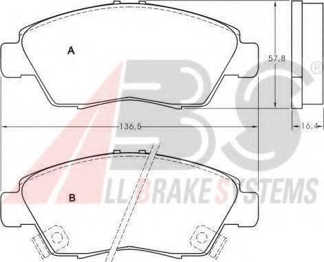 36831 ABS Комплект тормозных колодок, дисковый тормоз
