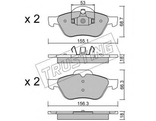3440 TRUSTING Комплект тормозных колодок, дисковый тормоз