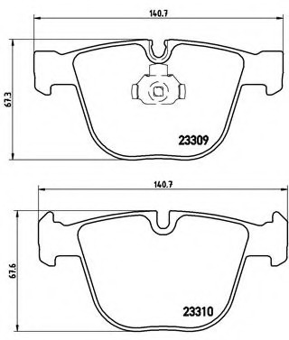 P05001 BREMBO Комплект тормозных колодок, дисковый тормоз