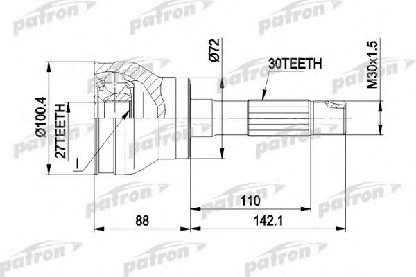 PCV1002 PATRON Шарнирный комплект, приводной вал