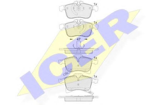 181592 ICER Комплект тормозных колодок, дисковый тормоз