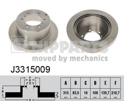 J3315009 NIPPARTS Тормозной диск