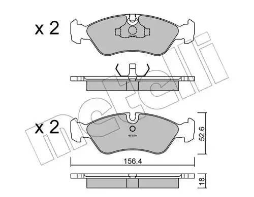 2201170 METELLI Комплект тормозных колодок, дисковый тормоз