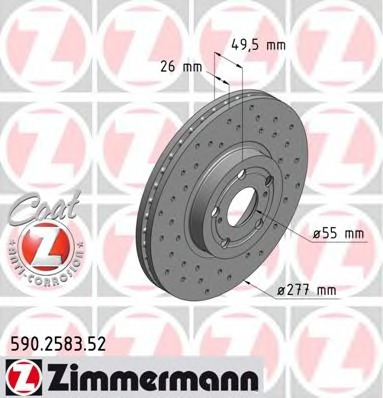 590258352 ZIMMERMANN Перфорированный тормозной диск Sport:Z
