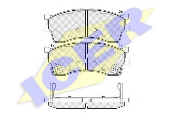 Комплект тормозных колодок, дисковый тормоз ICER 181610