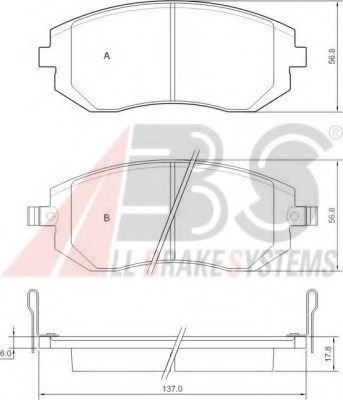 Комплект тормозных колодок, дисковый тормоз ABS 37446