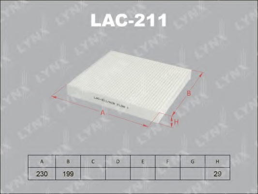 LAC211 LYNX Фильтр салонный