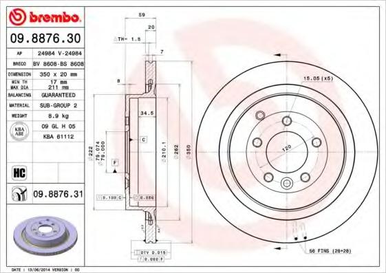 09887630 BREMBO Тормозной диск