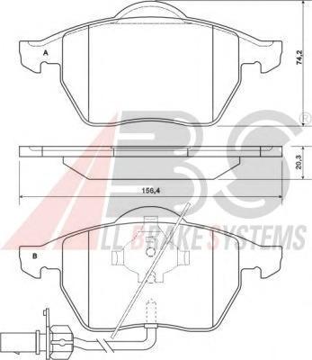 Комплект тормозных колодок, дисковый тормоз ABS 37156