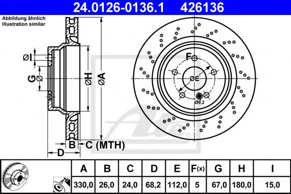 24012601361 ATE Тормозной диск