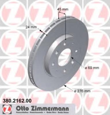 380216200 ZIMMERMANN Диск тормозной вентилируемый
