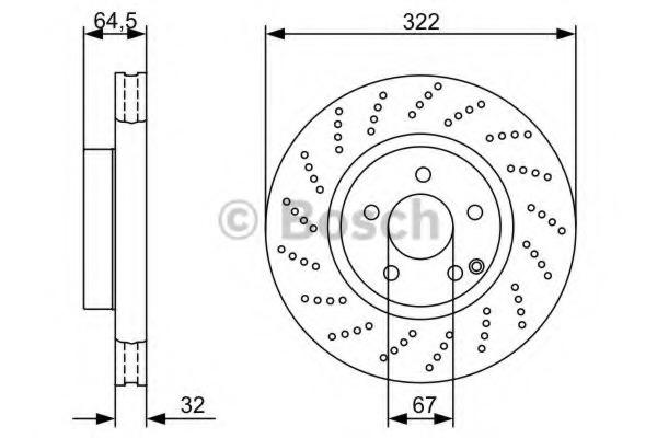 0986479408 BOSCH Диск тормозной вентилируемый, перфорированный
