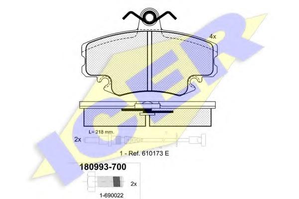 180993700 ICER Комплект колодок, дисковый тормоз вкл. датчик.