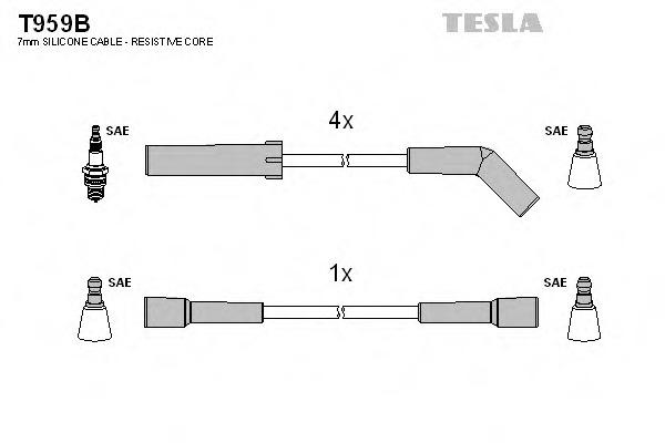 Комплект проводов зажигания TESLA T959B