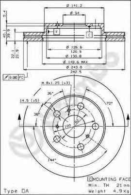 09302210 BREMBO Тормозной диск