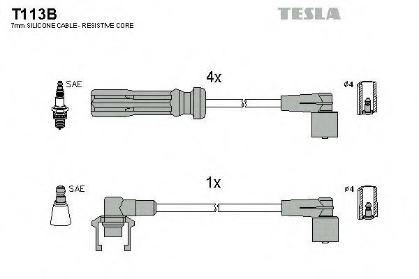 Комплект проводов зажигания TESLA T113B
