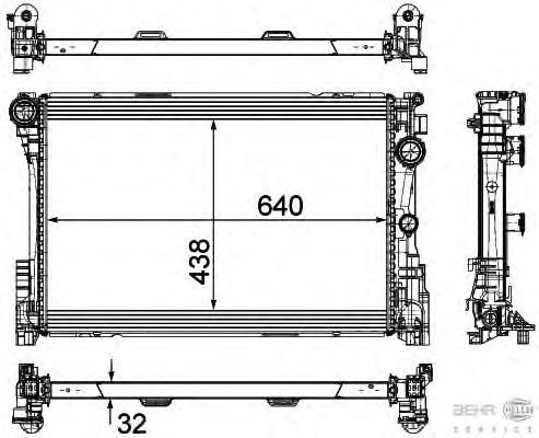 8MK376780691 HELLA Радиатор, охлаждение двигателя