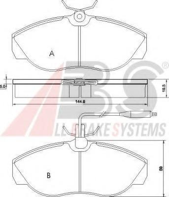 36883 ABS Комплект тормозных колодок, дисковый тормоз