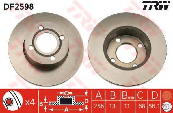 DF2598 TRW Тормозной диск