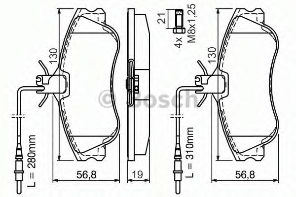 0986424414 BOSCH Комплект тормозных колодок, дисковый тормоз