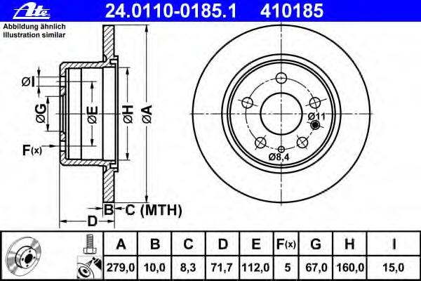 24011001851 ATE Тормозной диск