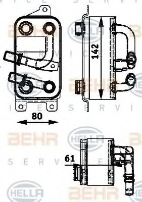 8MO376726191 HELLA масляный радиатор, двигательное масло