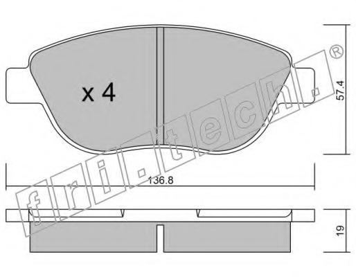 Комплект тормозных колодок, дисковый тормоз FRI.TECH. 3311