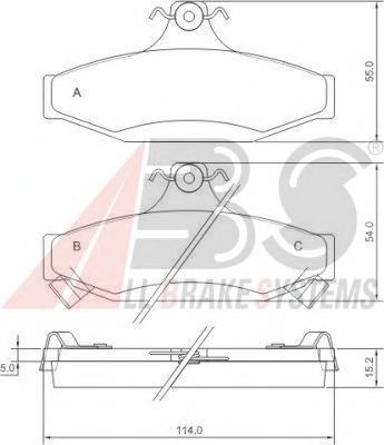 38295 ABS Комплект тормозных колодок, дисковый тормоз