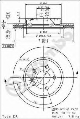 09782310 BREMBO Тормозной диск