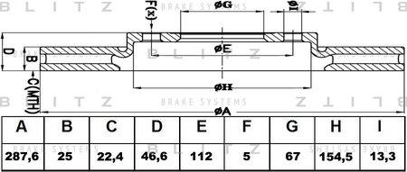 BS0136 BLITZ Диск тормозной MB W202210 95- перед. вент.