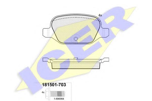 181501703 ICER Комплект тормозных колодок, дисковый тормоз