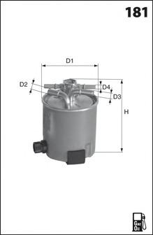 ELG5404 MECAFILTER Топливный фильтр