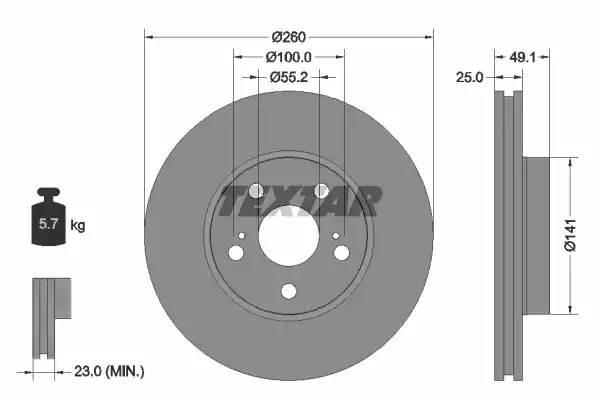 92096903 TEXTAR Диск тормозной TEXTAR