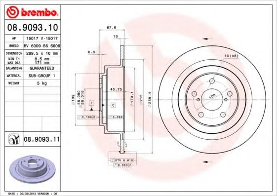 08909310 BREMBO Тормозной диск